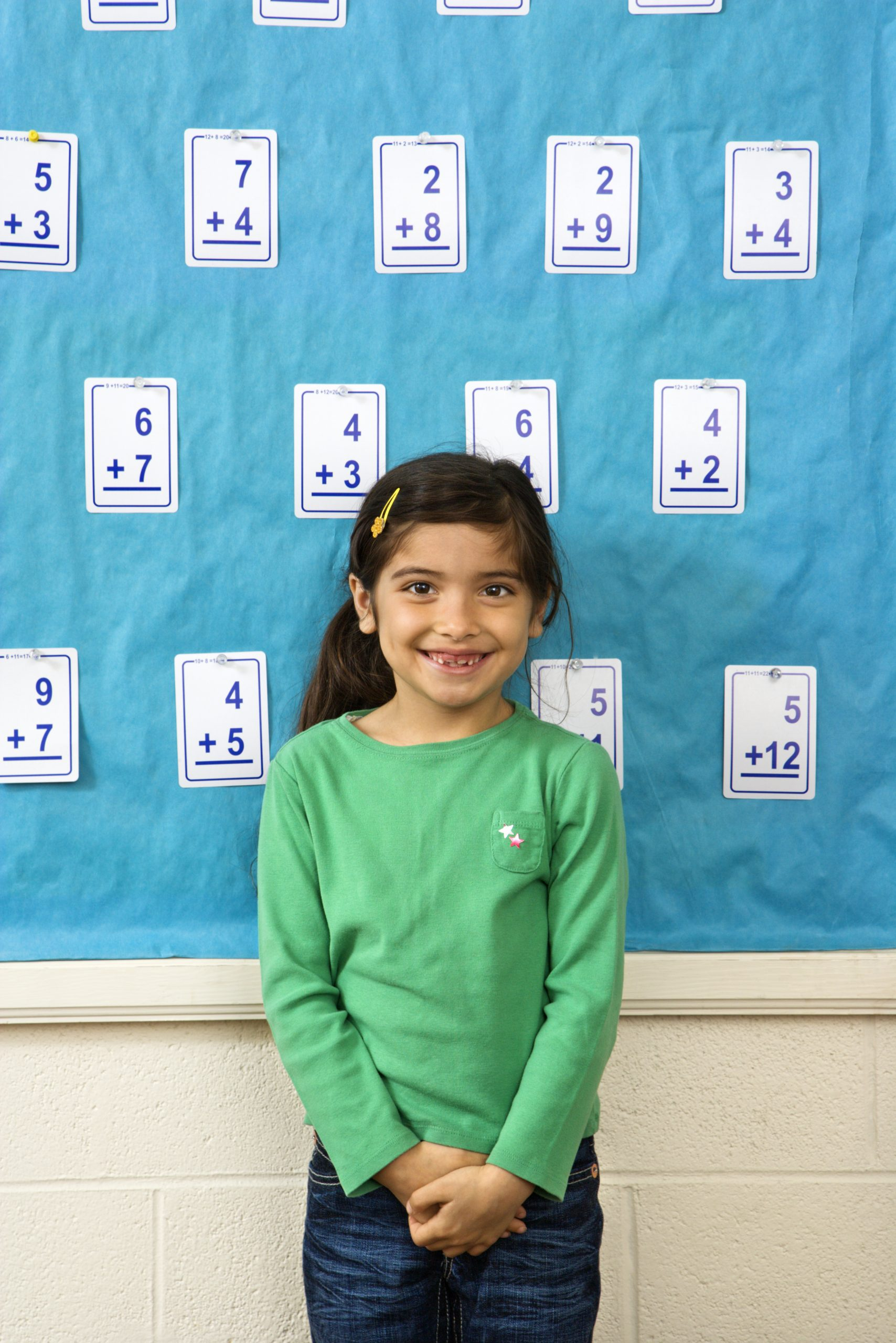 girl learning math facts